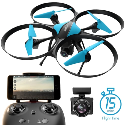 Force1 U49W Blue Heron Drone com câmera Wi-Fi FPV, 15-Min. Tempo de voo, Altitude Hold, Modo Headless, Bateria Drone Bonus, 2 Motores Extra, RC Drone Camera - Drone for Beginners + Photography