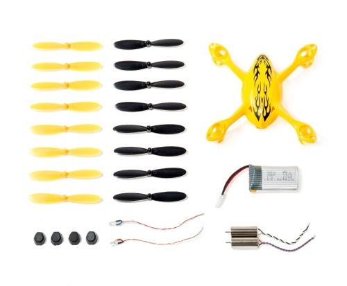 Oryginalny zestaw części zamiennych Hubsan do trzpienia czworokątnego X4 H107C, zawiera obudowę korpusu, 8 par żółte i czarne śmigła, akumulator LiPo, 4x nóżki gumowe, 2x silniki, 2x oświetlenie LED