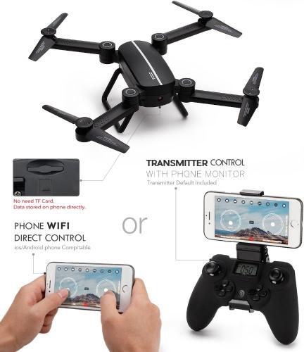 TOZO Q1012 X8tw Drone RC Quadcopter Wysokość trzymać bezgłośny RTF 3D 360 stopni FPV VIDEO WIFI 720P HD Kamera 6 osi 4CH 2.4Ghz Wysokość Uchwyt Łatwy Fly Stały do nauki, czarny
