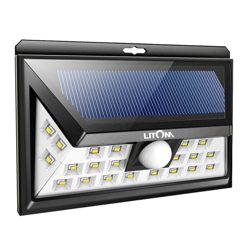 Litom SOLAR LIGHTS OUTDOOR Super Bright 24 LEDs Security Lights