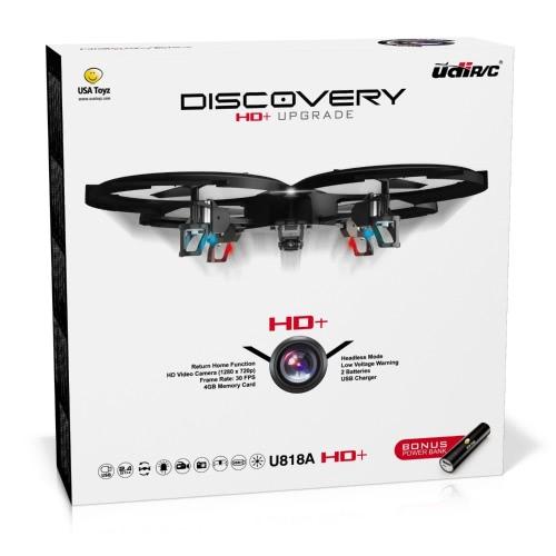 UDI U818A HD + Drone z aparatem i bezgłośnym trybem pracy -2.4 GHz Czujnik drgań radiotelefonów RC - z dodatkowym akumulatorem i zasilaczem