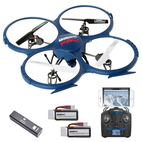 UDI U818A WiFi FPV Drone with Live Camera Feed - RC Quadcopter Drone with HD Camera and VR Headset Compatibility - Extra Battery and Power Bank For Longer Flight Time
