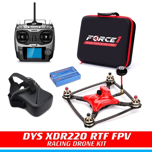 FPV Drone Racing Kit - DYS XDR220 RTF FPV Racing Drone | RC Quadcopter com HD CCD Camera, Carbon Fiber Frame, SP F3 Flight Controller | Transmissor AT-9 Radiolink | FPG Goggles | Balance Charger |