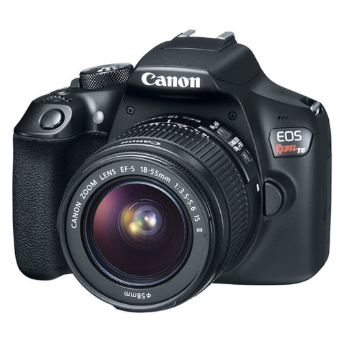Canon EOS Rebel T6 Digital SLR Camera with 18-55mm EF-S f/3.5-5.6 IS II Lens + 58mm Wide Angle Lens + 2x Telephoto Lens + Flash +