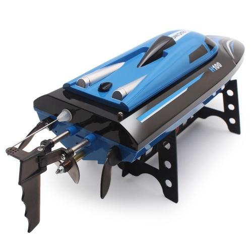 SZJJX RC Boat 2.4GHz 4-канальный пульт дистанционного управления Электрическая гоночная лодка 25KM / H Высокоскоростная автоматическая 180-градусная Flipping Transmitter с ЖК-экраном Blue