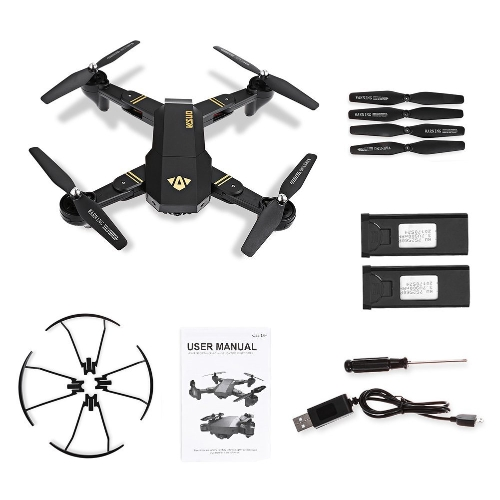 Foldable Drone,Kingtoys 809W RC Drone with camera,2.4GHz 6-Axis Gyro Remote Control Selfie Drone, Wifi FPV Quadcopter with 2pcs 90