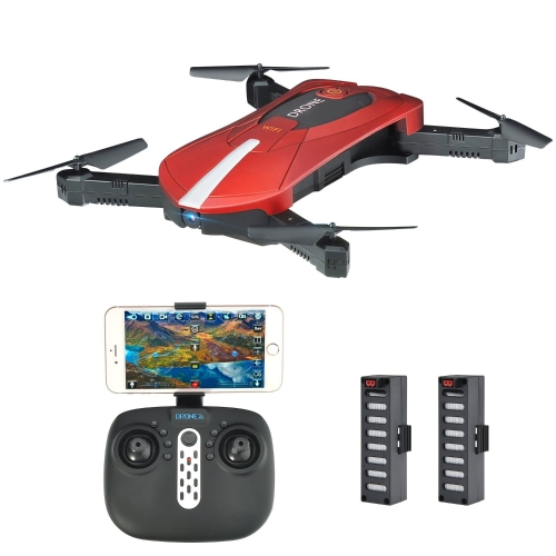 Pocket Selfie Drone, Kingtoys WIFI FPV Quadcopter avec caméra 2MP, pliable Altitude Arm Hold RC Drone avec 2pcs 3.7V 500mAh Batteries