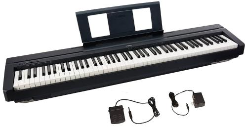 ヤマハP45 88キー加重アクションデジタルピアノ、サスティンペダルと電源、標準、ブラック