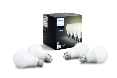 Philips Hue Weiß A19 4-Pack 60W äquivalente dimmbare LED Smart Bulb (kompatibel mit Amazon Alexa, Apple HomeKit und Google Assistant)