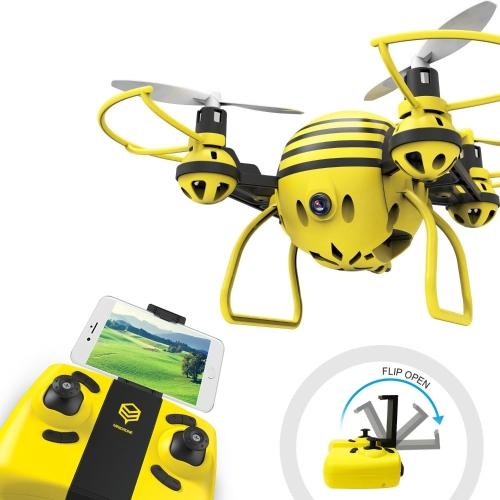 HASAKEE H1 FPV RC Drone com HD Live Video Wifi Camera e Headless Mode 2.4GHz 6-Axis Gyro Quadcopter com Altitude Hold, One-Button Take off / Landing, Bom para