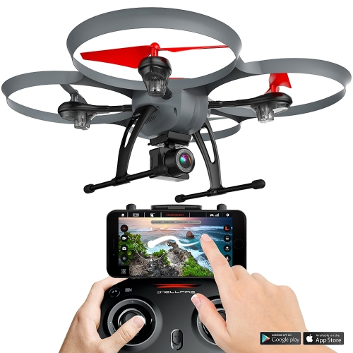 Kolibri Hellfire HD Wide-Angle Camera Drone com FPV App Video Stream, com 15 minutos de tempo de voo, Altitude Hold, Modo Headless, Auto Take-Off & Landing Quadcopter para iniciantes Modelo: XK6600