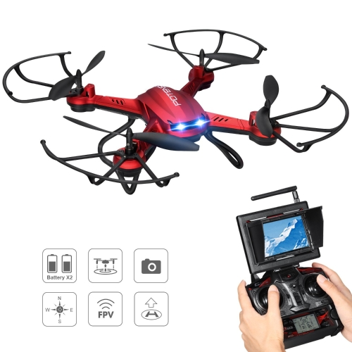 Drone with Camera, Potensic F181DH 5.8GHz RC Drone Quadcopter Com 720P HD Live Camera RTF Altitude Hold UFO e mais novo Stepless-speed Function, 5.8Ghz FPV LCD Screen Monitor (Vermelho)