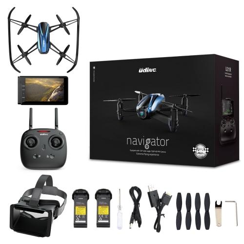 Drone с очками VR, игровой приемопередатчик Quadenson с картой Canensic с видеокамерой 720P HD Live RTF 4-канальный 5,8 ГГц FPV ЖК-монитор 6-гироскоп (360 градусов) Безголовый режим и функция удержания высоты
