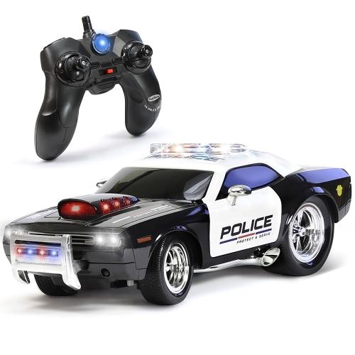 Coche policial de control remoto KidiRace RC para niños, recargable, durable y fácil de controlar