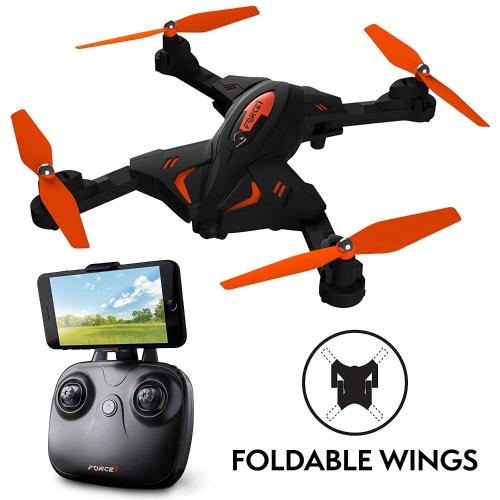 Drone pliable Force1 avec caméra vidéo en direct avec caméra de drone HD 720p Altitude Hold et 1 clavier quadcopter