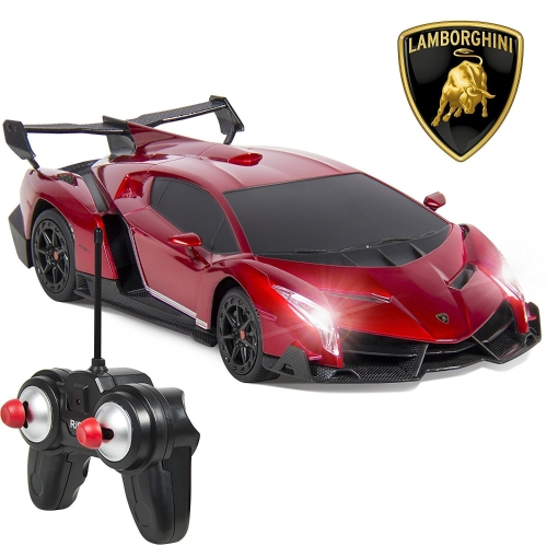 RW 1/24 Scale Lamborghini Veneno Car Radio Remote Control Sport Racing Car RC,Red
