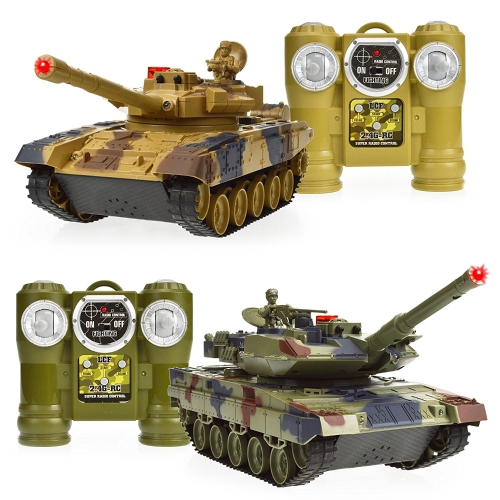 Dynasty Toys Laser Tag Tanks - Giocattoli da combattimento LED Tank - Set da 2 serbatoi RC ​​con telecomando a infrarossi Capacità di auto RC - Battle Tanks Keep Score / Register When Hit