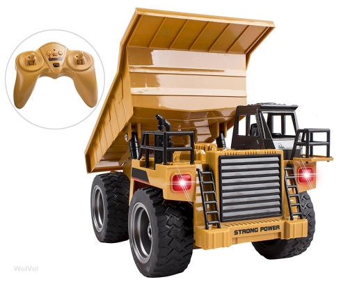 WolVol 6 Channel Electric Rc Remote Control Full Functional Dump Truck Toy for Kids with Lights, Metal Die-Cast Front