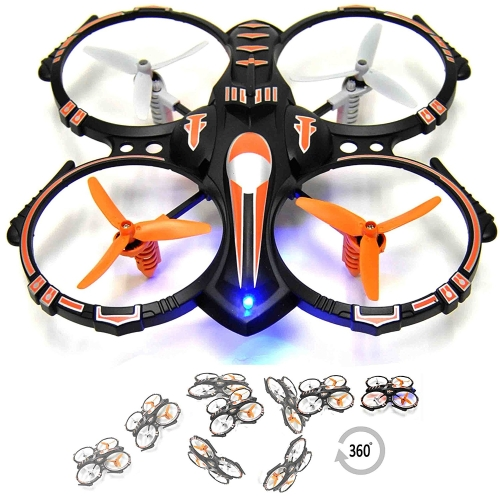 RC Stunt Drone Quadcopter w / 360 Flip: Crash Proof, 2.4GHz, 4 CH, 3 Lâminas Hélices, Extra Drone Battery para Extended Fly Time w / Practice Landing Pad, 2 USB Charger & Repare Parts