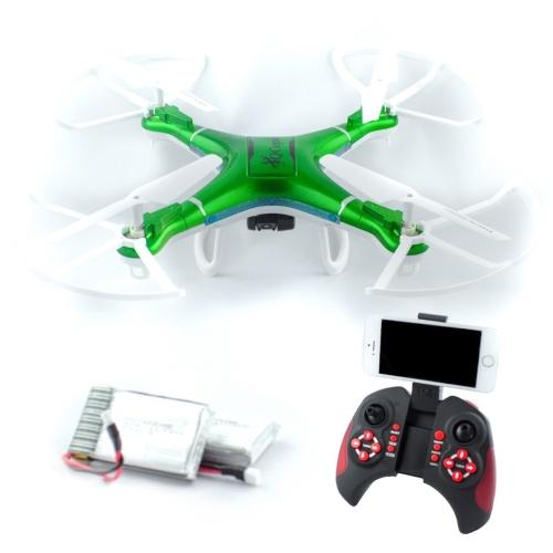 QCopter Drone Quadcopter w / HD FPV Wifi Camera BONUS Drones Bateria e kit de travamento incluído; Verde