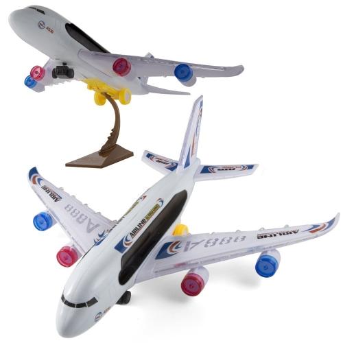 Kidsthrill Bump And Go Electric A388 Aereo di linea per bambini per aereo di linea - Luci e suoni di aereo attraenti - Cambiamenti Direzione in contatto - Ideale per bambini di età compresa tra 3 e su. (I colori possono variare) con supporto