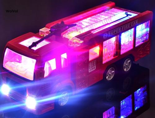 WolVol Electric Fire Truck Toy con luci e sirene 3D mozzafiato, gira intorno e cambia le direzioni a contatto - Great Gift Toys for Kids