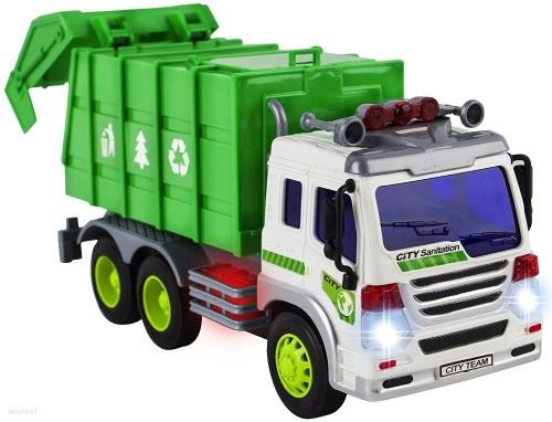 WolVol Friction Powered Garbage Truck Toy con luci e suoni per i bambini (può aprire indietro)