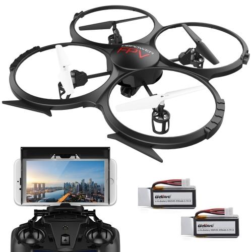 WIFI FPV Versione U818A Drone con videocamera HD 720p DBPOWER Quadcopter Headless Mode con 2 batterie Drone Time Flying Time per principianti