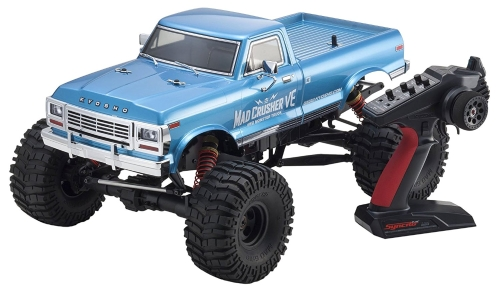 Kyosho Mad Crusher VE 4WD camion RC senza spazzole, blu, scala 1: 8