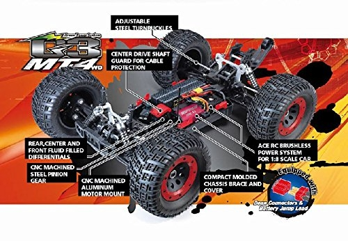 thunder tiger 6401-f111 mt4-g3 ep brushless 2.4g (1/8 scale), red