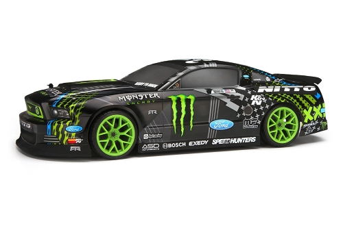 HPI RACING E10 DRIFT VAUGHN GITTIN JR. MONSTER ENERGY NITTO PNEUMATICO FORD MUSTANG RTR TELECOMANDO NERO 1/10