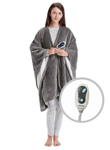 Soft Sherpa Heated Blanket Wrap con regolatore di calore a 3 regolazioni