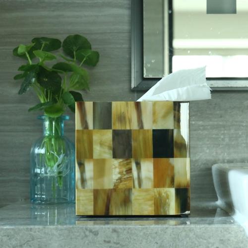 Прямоугольная тканевая коробка Abalone Shell Stripes Деревянная фортепианная выпечка Технология лакокрасочного покрытия Ванная комната Спальня Украшение Home Decor