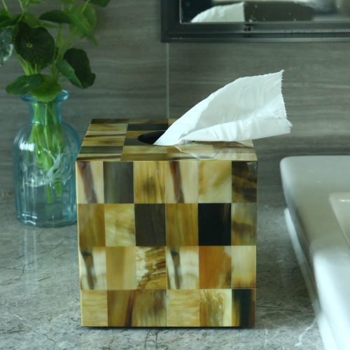 Rectangular Tissue Box Abalone Shell Stripes Wooden Piano  Baking Varnish Technology Office Living Room Bathroom Bedroom Ornament Home Decor