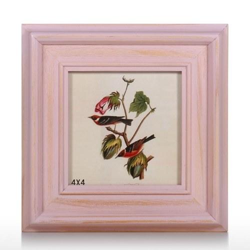 Rosa Marco de fotos de madera Marco de fotos de madera natural Escritorio Mesa Oficina en casa Decoración Arte Proyecto 4x4