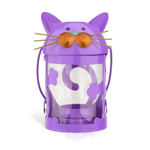 Cat candle holder(purple) Hurricane lamp Practical ornament Creative ornament  Home Furnishing Articles