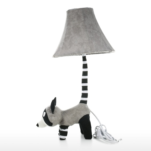 Grey Raccoon Table Lamp EU Plug Modern Cute Raccoon Table Lamp with Night Light for Bedroom Office