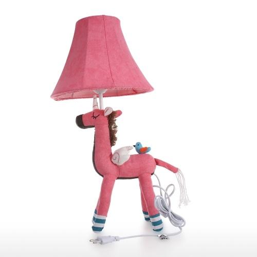 Lampe de table Licorne rose EU Plug Lampe de table de bureau décorative lampe en coton animal pour enfants avec ampoule led