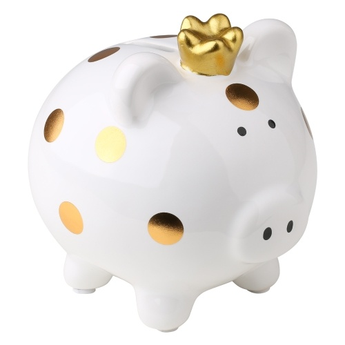 Tooarts Crown Piggy Bank Ceramic Piggy Bank Cartoon Spotted Pig Home Furnishings Crafts Family Gifts Souvenir Pink&White
