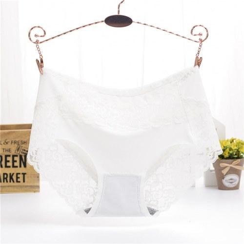 High-Rise Panty Blumenspitze hohl nahtlose Unterwäsche Größe mittig Taille Mesh transparent atmungsaktiv Höschen