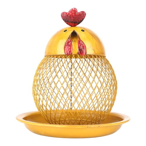 Tooarts Cock Shaped Bird Feeder Wild Bird Feeder Modern Handmade Iron Craft Hanging for Outdoor Decoration Villa Garden Yard Decoration Cartoon Style Yellow