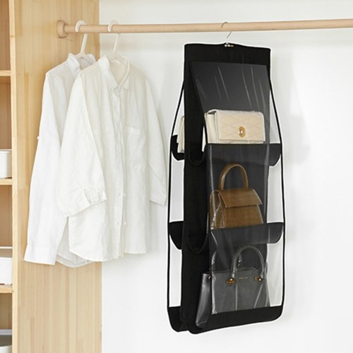Handbag hanging closet organizer transparent