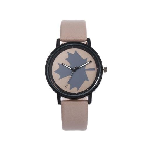 Reloj de pulsera con patrón de arce para mujer, caja de aleación de moda, reloj de cuarzo con banda de cuero