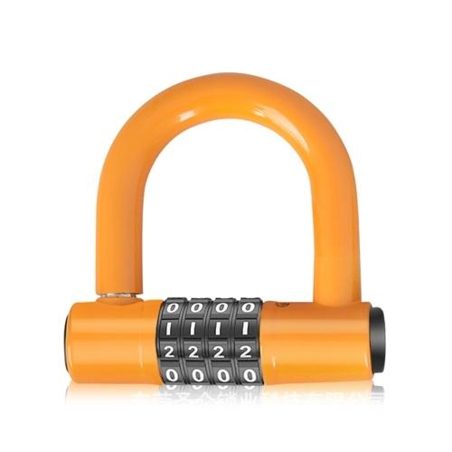 Bicycles U Lock 4-digit Combination Password Lock Heavy Duty Gym Locker Lock Bike Scooter Motorcycles Kitchen Cabinet Lock U-shaped Lock Door Handle Safety Lock Anti Theft