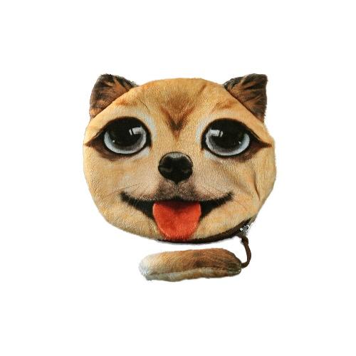 Nuevas mujeres Linda moneda monedero perro cara cabeza de Animal de la historieta impresión cremallera cierre monedero Mini pequeño bolso de embrague