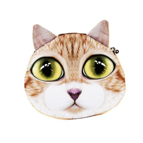 Mulheres bonitos gato moeda bolsa carteira impressão Animal Mini pelúcia moeda caso bolsa o saco do Zipper