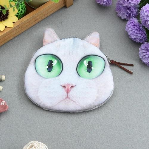 Moda carino donne Mini Coin Purse Wallet gatto testa animale stampa cerniera chiusura piccola pochette