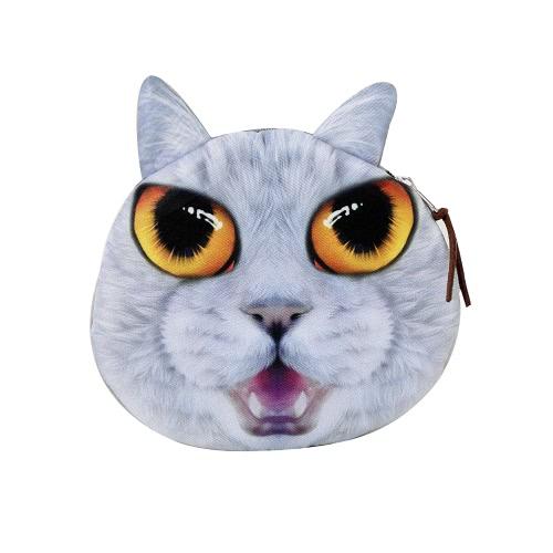 Lindo moda mulheres moeda bolsa gato Animal cabeça imprime fechamento zíper carteira Mini pequeno saco de embreagem
