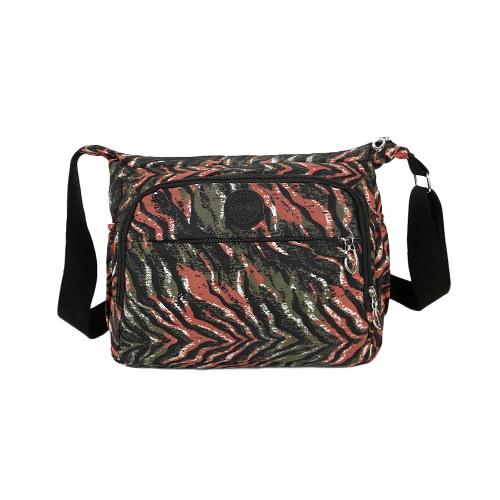 Las nuevas mujeres del bolso de Crossbody del color del contraste de impresión multi bolsillos de agua a prueba de la correa ajustable bolso casual