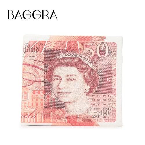 Homens Mulheres Moda curto carteira PU Leather Dollar Pound Euro impressão dobrado ID dinheiro titular do cartão caso
